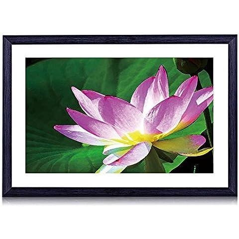 Flor de loto–Arte impresión negro marco de madera para la pared arte 16x 12pulgadas)