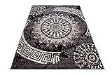 Carpeto Designer Teppich Modern Medalion Mandala Meliert in Grau Dunkelgrau - ÖKO Tex (80 x 150 cm)