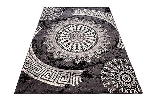 Carpeto Designer Teppich Modern Medalion Mandala Meliert in Grau Dunkelgrau - ÖKO Tex (300 x 400 cm)