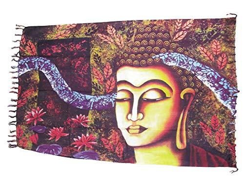 Sarong Pareo Buddha aubergine/große Auswahl schönste Farben/Wickelrock Strandtuch Sauna-Tuch Wickelkleid Schal Wickeltuch Bademode Freizeitmode Sommermode/aus 100% Viskose