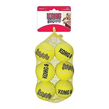 Kong SqueakAir, balle couineuse pour chiens, taille moyenne, paquet de 6 balles pour Chiens