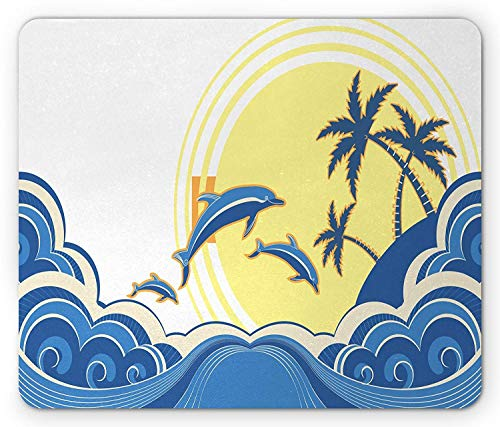 Drempad Luxe Tapis De Souris, Surf Mouse Pad, Exotic Palm Trees on Island with Waves and Sunrise in Blue Shades Print, Rectangle Non-Slip Rubber Mousepad, Blue Pale Blue and White 9.8 X 11.8 inch