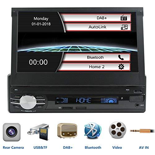 LEXXSON 1DIN Autoradio DAB+ Tuner Bluetooth FM-Radio Media-Receiver unterstützt AM/FM R.D.S Radio, USB/SD/AUX, Cam-In, Phonelink, ausfahrbarer 7 Zoll Touchscreen