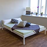 Homestyle4u 639 Stralsund Holzbett, Doppelbett mit Lattenrost aus Kiefer in Weiß mit natürlicher Holz Maserung Bettrahmen, 140 x 200 cm