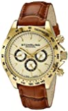 Stuhrling Original Champion Victory Triumph Classic men's quartz Watch with gold Dial analogue Display and beige leather Strap 564L.02