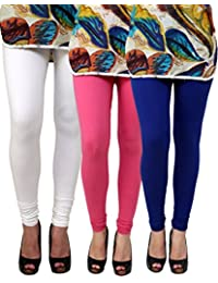 Anekaant Pack Of 3 Cotton Lycra Free Size Women's Legging -White, Pink, Blue