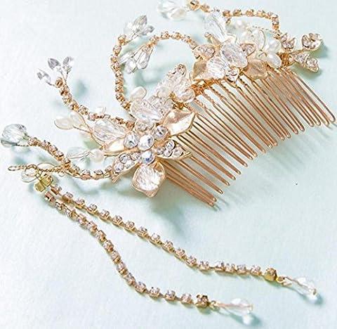Bride Headdress Rhinestones tall headdress wedding dress Accessories crystal flower headband gold / silver ,