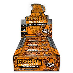 Grenade Carb Killa Jaffa Quake High Protein and Low Carb Bar, 12 x 60 g