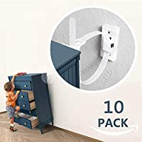 Furniture Straps (10packs), Baby Proofing Anti-Tip Furniture Anchor Straps kit, Falling Furniture Prevention Device, Safety Furniture Wall Anchors for Baby Proofing & Pet Protecting,White