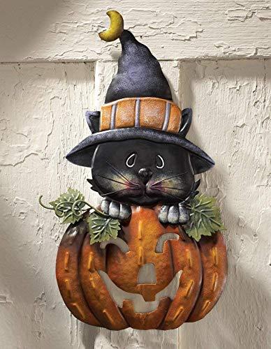 dliche Hexenkatze mit Kürbis-Motiv, Halloween-Dekoration ()