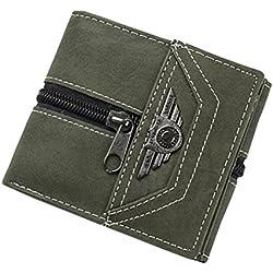Toamen Hombres Monedero PequeñO De DiseñO Portatarjetas Rfid Mini Carteras De Cuero Delgadas (Verde)