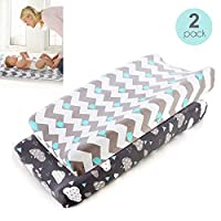 MOGOI Changing Pad Cover, Ultra Soft and Stretchy Fitted Change Pad Covers for Boys or Girls, 2 Pack Whale/Cloud