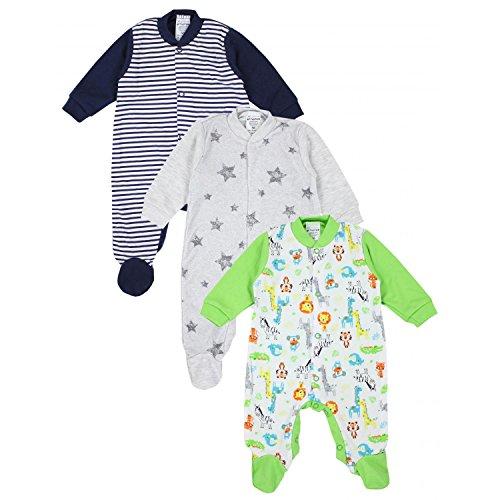 TupTam Unisex Baby Schlafstrampler Baumwolle 3er Pack, Farbe: Junge 4, Größe: 80 -