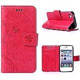MOONCASE iPhone SE Bookstyle Étui Fleur Housse en Cuir Case à rabat pour iPhone SE / 5S /5 Coque de protection Portefeuille TPU Case Rose