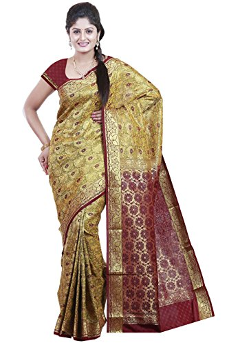 Mimosa Women's Traditional Art Silk Saree Kanjivaram Style, color :Mustard(3252-N7-MUST)  available at amazon for Rs.1999