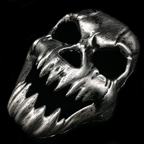 Kostüm Gesicht Mystique - Scary Geist Totenkopf Maske Skelett Maske Antik Zähne Voll Gesicht Halloween Cosplay Party Kostüm Maske - Silbern, Free Size