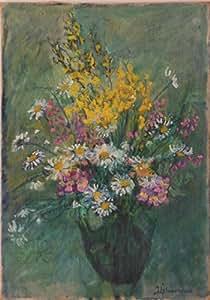 Bouquet - oeuvre originale unique ancienne - peinture à l'huile sur canevas (toile sur chassis) -- esthétique raffiné tableau fleur jaune bleu rose vert vase pot affiche peinture art artiste nature morte