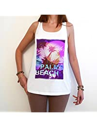 Palms Beach T-Shirt, été, débardeur manches courtes Blanc, Femme, t shirt femme,cadeau