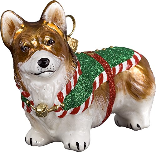 Joy Pembroke Welsh Corgi Santas Little Yelper Dog Polish Glass Christmas Ornament -