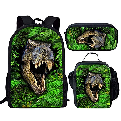 Coole Dinosaurier T-Rex Rucksack Set Kinder Jungen Schultasche und Lunchboxes Federmäppchen (Color : Dinosaur Leaf Pattern Set, Size : -)