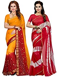 Ishin Combo Of 2 Chiffon Multicolor Tie And Dye Printed Party Wear Bollywood New Collection Women's Saree