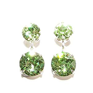 SILVER STUD EARRINGS MADE WITH SCINTILLATING PERIDOT SWAROVSKI CRYSTAL. HIGH QUALITY. LOW PRICES.