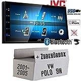 VW Polo 9N - Autoradio Radio JVC KW-M24BT - 2-DIN Bluetooth MP3 USB Autoradio TFT Touch - Einbauzubehör - Einbauset