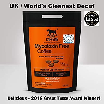 UK & World's Cleanest Decaffeinated Decaf Coffee Ground | Pesticide & Mycotoxin Free + Swiss Water Decaffeinated | Bulletproof Coffee Decaf - Paleo & Decadent | Good as Organic Decaf Coffee Ground | Lean Caffeine Signature Espresso Decaf Decaffeinated De-