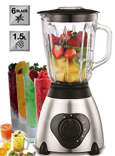 Standmixer 800 Watt Glas Edelstahl | Smoothie Maker | Mixer | Universal Power Mixer | 1,5 Liter | 6-Fach Metallmesser | Zerkleinerer | Eiweiß Shaker | Ice Crusher - Mixer-cup Power