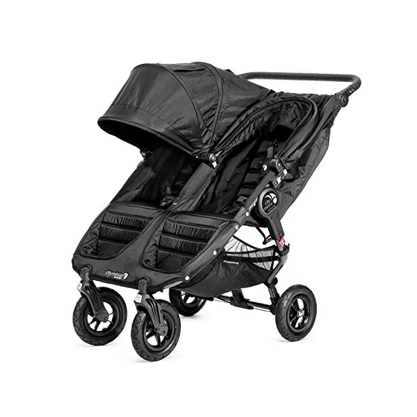 Baby Jogger City Mini GT Double Stroller Black  Taking a little detour is fun, the City Mini GT Double offers all-terrain wheels that let you make your own rules; the all-terrain wheels and front wheel suspension work in unison to give you full control on where and how you go while keeping your little one comfortable Lift the straps and the City Mini GT Double folds itself: Simply and compactly, it really is as easy as it sounds; the auto-lock will lock the pushchair for transportation or storage An adjustable handlebar can accommodate different heights and a hand-operated parking brake keeps all the controls within reach 5