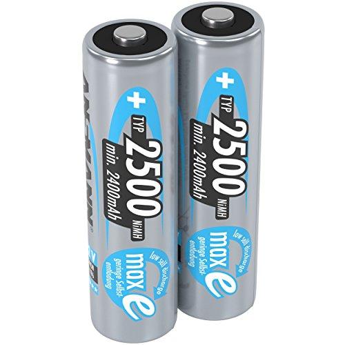 ANSMANN piles rechargeables AA, 1,2V / 2500mAh, NiMH - avec technologie maxE pour les appareils à forte consommation d'énergie / idéal pour les jeux électroniques, 2 unités