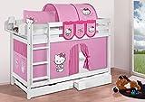 Lilokids Buche Massivholz Etagenbett JELLE Hello Kitty Rosa - Hochbett weiß - mit Vorhang und Lattenroste