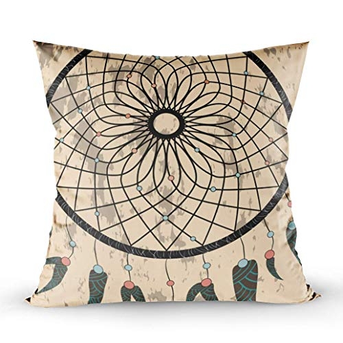 Decorative Pillow Covers,Zippered Covers Pillowcases 16X16Inch Throw Pillow Covers Native American Dream Catcher Traditional Symbol Bright Card with Colored Feathers for Home Sofa Bedding