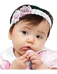 1 Baby Maedchen Weiss Lace Blumen Baby Stirnband Haarband 18x3cm
