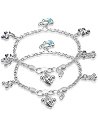 Taraash Sterling Silver Charm Anklets For New Born Baby Girls AN1028SS
