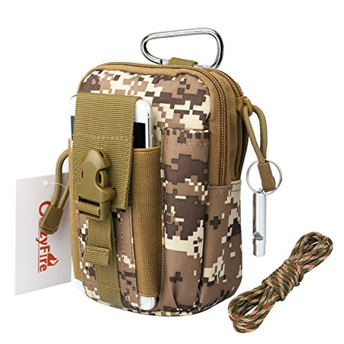 CrazyFire Tactical MOLLE Pouch,Multi-Purpose EDC Military Utility Bag, Canvas Work Waist Bags with Survival Whistle, Carabiner and Survival Cord for Outdoor Hiking Camping Cycling Climbing