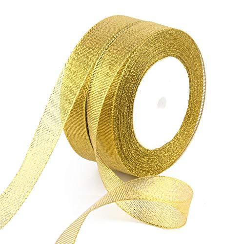 FEPITO 2er Pack 25 Yard 20mm Breite Glitter Goldband Weihnachtsverpackung Band Gold Organza Band für Geschenkverpackung Weihnachtsbaum Dekoration (2 Stück Gold)