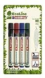 edding 21/4 - Blíster de 4 marcadores permanentes con punta redonda, tinta permanente, resistente al agua, fabricados con material recilado, multicolor