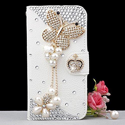 Blackview E7 Hülle, CaseFirst glänzend Diamond Stoßfest Lederhülle Kasten Ultra Dünn Handyhülle Premium Schutzhülle Kratzfest Hülle mit Card Slots Wallet Case (Butterfly)