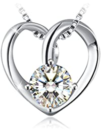 "J.Rosée Collar Plata de Ley 925 ""Promesa de amor"" Rodeado de Diamante para Mujer con Caja Hermosa(45CM+5CM)"