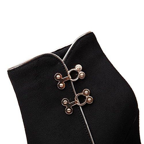VogueZone009 Damen Schließen Zehe Niedrig-Spitze Blend-Materialien Hoher Absatz Stiefel Schwarz-Reißverschluss
