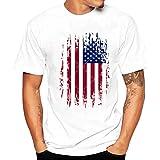 Camiseta Hombre de Verano ❤️Amlaiworld Moda Hombres chicos bandera de impresión camisetas camiseta de manga corta blusa Tops de talla grande (Blanco, M)