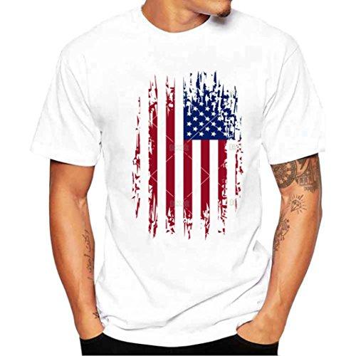Camiseta Hombre de Verano ❤️Amlaiworld Moda Hombres Chicos Bandera de impresión Camisetas Camiseta de Manga Corta Blusa Tops de Talla Grande (Blanco, 4XL)