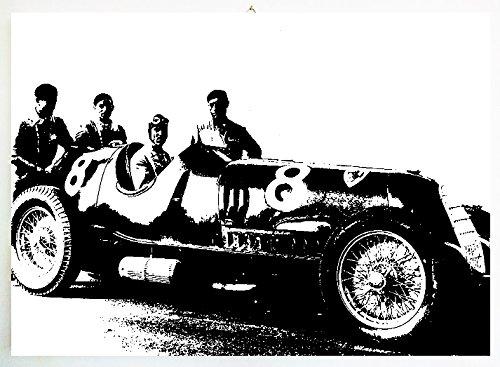 Tazio Nuvolari Alfa Romeo 8(Scuderia Ferrari)-Modernes Bild-Holzplatte MDF handbemalt Pop Art Effect (Format 80x 60cm) -