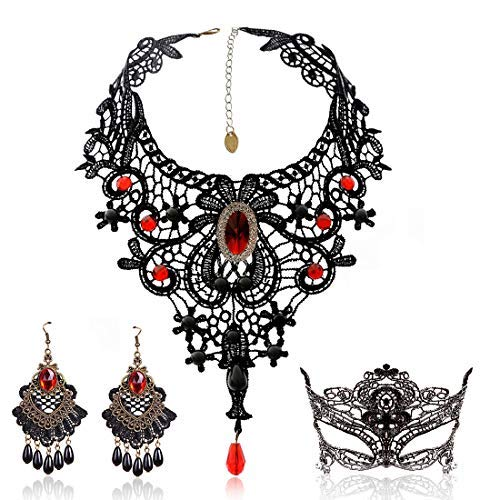Schwarze Spitze Halskette und Ohrringe Set, BagTu Gothic Lolita Red Anhänger Choker für Halloween-Kostüm und Hochzeit (Maskerade Billige Kostüme)