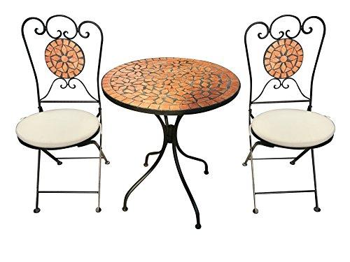 Unbekannt De Mobiliario Mosaico Hierro Set Cerámica 2sillas y 1Mesa Mesa de diámetro Aprox. 61cm
