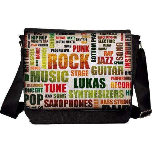 Preisvergleich Produktbild Herz & Heim® Umhängetasche Motiv Rockmusik mit Name: Lukas
