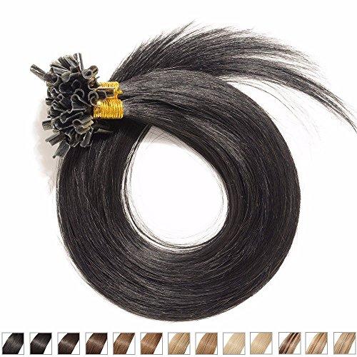 Extensions en Cheveux Naturels - Ongle/Onglet Pointe U en Kératine Pose à Chaud 55CM - 100 mèches(0.5g/mèche) - Pre bonded Nail Tip/U-tip Remy Hair Extensions - #01 Noir