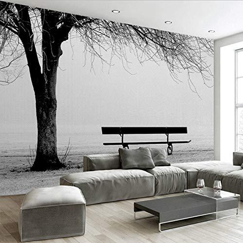 Benutzerdefinierte 3D Foto Wandbild Tapete Schwarz Weiß Große Baum Wand Bank Abstrakte Kunst Malerei Moderne Wohnzimmer Sofa Tv Hintergrund Wand 400 (B) X 280 (H) Cm -