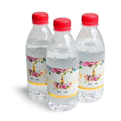 AMZTM Einhorn Flaschenetikett - Wasserflasche Wraps Set von 24 Magische Einhorn Themen Mädchen Geburtstagsparty Dekorationen Baby Shower Hochzeitszubehör